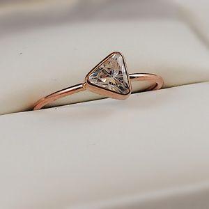 10kt Rose Gold Ring with bezel set trillium cut Cz